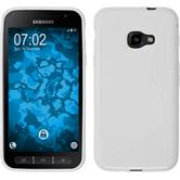 Silikon Hülle Galaxy Xcover 4 S-Style weiß + 2 Schutzfolien
