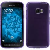 Silikon Hülle Galaxy Xcover 4 transparent lila + 2 Schutzfolien