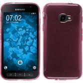 Silikon Hülle Galaxy Xcover 4 transparent rosa + 2 Schutzfolien