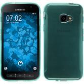 Silikon Hülle Galaxy Xcover 4 transparent türkis + 2 Schutzfolien