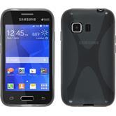 Silikon Hülle Galaxy Young 2 X-Style grau + 2 Schutzfolien