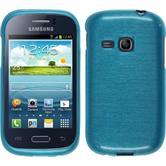Silikonhülle für Samsung Galaxy Young brushed blau