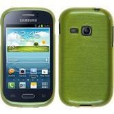 Silikon Hülle Galaxy Young brushed pastellgrün + 2 Schutzfolien