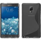 Silikon Hülle Galaxy Note Edge S-Style grau + 2 Schutzfolien