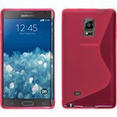 Silikon Hülle Galaxy Note Edge S-Style pink + 2 Schutzfolien