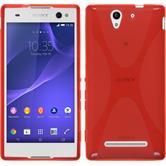 Silikon Hülle Xperia C3 X-Style rot + 2 Schutzfolien