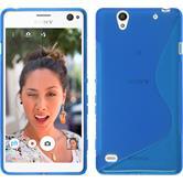 Silikon Hülle Xperia C4 / Dual S-Style blau + 2 Schutzfolien