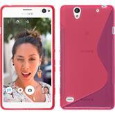 Silikon Hülle Xperia C4 / Dual S-Style pink + 2 Schutzfolien