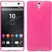 Silikon Hülle Xperia C5 Ultra X-Style pink + 2 Schutzfolien
