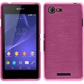 Silicone Case for Sony Xperia E3 brushed hot pink