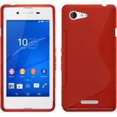 Silikon Hülle Xperia E3 S-Style rot + 2 Schutzfolien