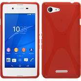 Silikon Hülle Xperia E3 X-Style rot + 2 Schutzfolien