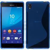 Silikon Hülle Xperia M4 Aqua S-Style blau + 2 Schutzfolien