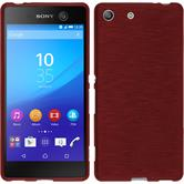 Silikon Hülle Xperia M5 brushed rot + 2 Schutzfolien