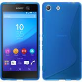 Silikon Hülle Xperia M5 S-Style blau + 2 Schutzfolien