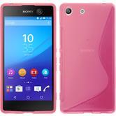 Silikon Hülle Xperia M5 S-Style pink + 2 Schutzfolien