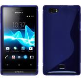 Silikon Hülle Xperia miro S-Style blau + 2 Schutzfolien