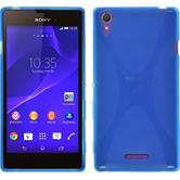 Silikon Hülle Xperia Style X-Style blau + 2 Schutzfolien