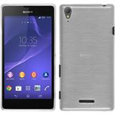 Silikon Hülle Xperia T3 brushed weiß + 2 Schutzfolien