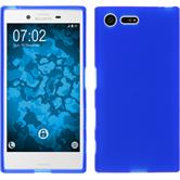 Silikon Hülle Xperia X Compact matt blau + 2 Schutzfolien