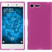 Silikon Hülle Xperia X Compact matt pink + 2 Schutzfolien