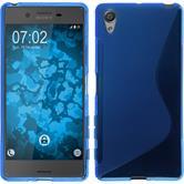 Silikon Hülle Xperia X S-Style blau + 2 Schutzfolien