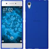Silikon Hülle Xperia XA1 matt blau + 2 Schutzfolien