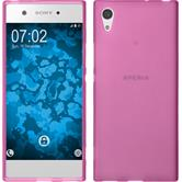 Silikon Hülle Xperia XA1 matt pink + 2 Schutzfolien