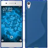 Silikon Hülle Xperia XA1 S-Style blau + 2 Schutzfolien
