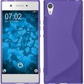 Silikon Hülle Xperia XA1 S-Style lila + 2 Schutzfolien