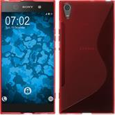 Silikon Hülle Xperia XA1 Ultra S-Style rot + 2 Schutzfolien