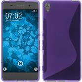 Silikon Hülle Xperia XA S-Style lila + 2 Schutzfolien