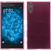 Silicone Case Xperia XZs transparent pink + protective foils