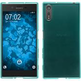 Silicone Case Xperia XZs transparent turquoise + protective foils