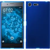 Silikon Hülle Xperia XZ Premium matt blau + 2 Schutzfolien