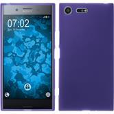 Silikon Hülle Xperia XZ Premium matt lila + 2 Schutzfolien