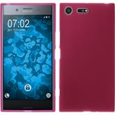 Silikon Hülle Xperia XZ Premium matt pink + 2 Schutzfolien