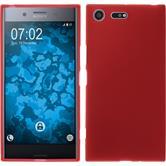 Silikon Hülle Xperia XZ Premium matt rot + 2 Schutzfolien