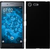 Silikon Hülle Xperia XZ Premium matt schwarz + 2 Schutzfolien
