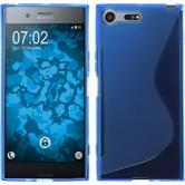 Silikon Hülle Xperia XZ Premium S-Style blau + 2 Schutzfolien