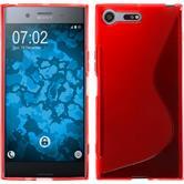 Silikon Hülle Xperia XZ Premium S-Style rot + 2 Schutzfolien