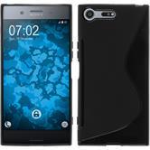 Silikon Hülle Xperia XZ Premium S-Style schwarz + 2 Schutzfolien