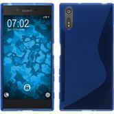 Silikon Hülle Xperia XZ S-Style blau + 2 Schutzfolien