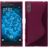 Silikon Hülle Xperia XZ S-Style pink + 2 Schutzfolien