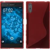 Silikon Hülle Xperia XZ S-Style rot + 2 Schutzfolien
