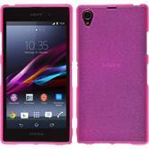 Silikon Hülle Xperia Z1 brushed pink + 2 Schutzfolien