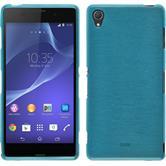 Silikon Hülle Xperia Z3 brushed blau + 2 Schutzfolien