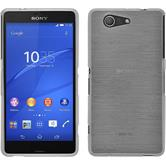 Silikon Hülle Xperia Z3 Compact brushed weiß + 2 Schutzfolien
