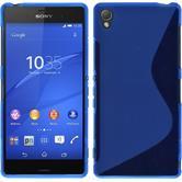 Silikon Hülle Xperia Z3 S-Style blau + 2 Schutzfolien