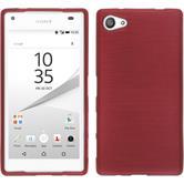 Silikon Hülle Xperia Z5 Compact brushed rosa + 2 Schutzfolien